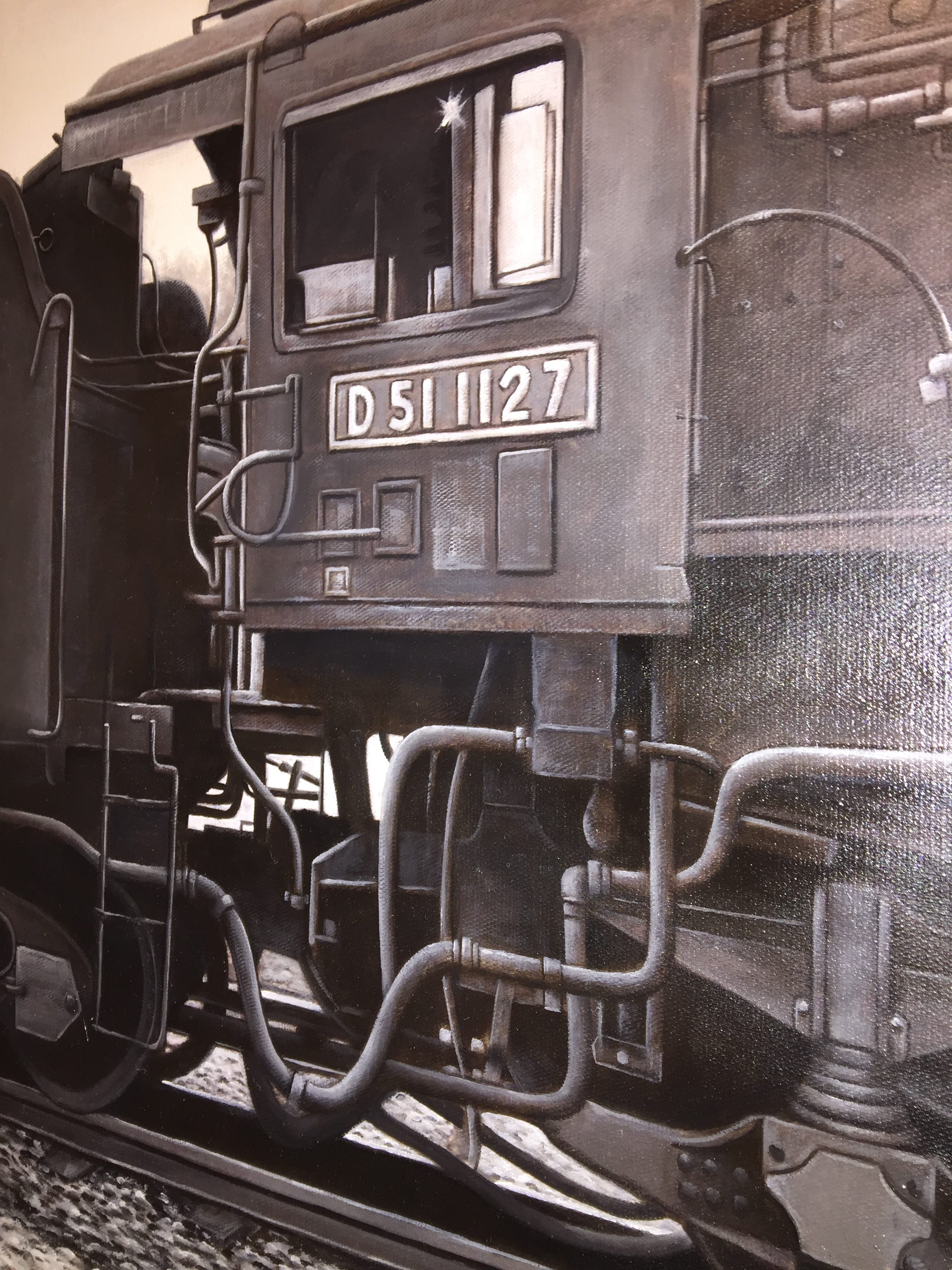 Train Art Collection油絵11:限定商品 カマボコドーム 夕張駅で出発待ちのD511127